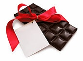 Chocolate with red ribbon - St. Valentines' day present