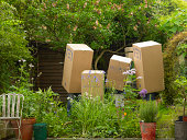 Family with cardboard boxes on heads