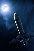corporate jet airplane taking off at night