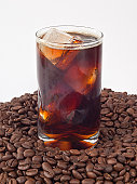 Iced coffee on beans
