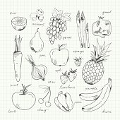 Freehand drawing fruit and vegetables. Vector