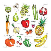 Freehand drawing fruit and vegetables on a white background.