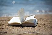 Buch im Wind am Strand