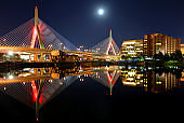 Full moon over the Zakim Bridge