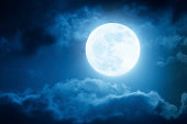Dramatic Nighttime Sky and Clouds With Large Full Moon