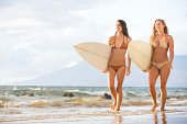 Beautiful Sexy Surfer Girls on the Beach at Sunset