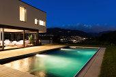 Modern villa, night scene