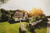 Typical traditional home on island Amrum, Germany