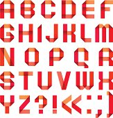 Spectral letters folded of paper ribbon-red