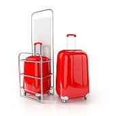red cabin baggage in allowed dimensions
