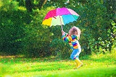 Little happy girl with umbrella