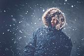 Businessman in snow storm