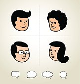 Speech Bubbles Icon, head, business man 01
