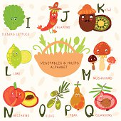 Alphabet of fruit and vegetables.