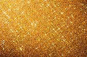 Golden Star Glitter Background - Christmas Anniversary Gold