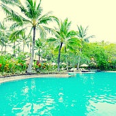 Poolside in luxury hotel, Bali, Indonesia.