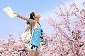 Happy woman traveler relax feel free