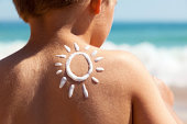Suntan lotion at the beach