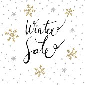 Winter sale background with handwritten text and doodle snowflakes, vector