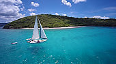 sailboat under full sails traveling through the Caribbean Sea