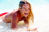 Woman doing splashes