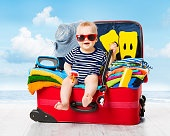 Baby Travel Suitcase. Kid Luggage Packed for Vacation Full Clothes