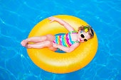 Funny little girl in swimming pool on inflatable ring