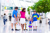 Big family with kids at airport