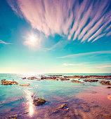 Colorful summer morning on the Giallonardo beach