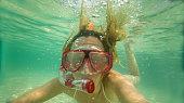 Underwater selfie while snorkelling