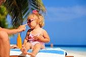 parent applying sunblock cream on daughter shoulder
