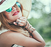 Portrait of beautiful hipster woman