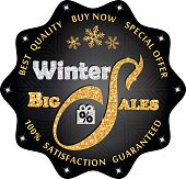 Black winter sales label / sticker