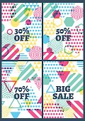 Set of vector abstract geometric background. Summer sale design.