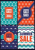 Set of vector summer sale design. Seamless patterns and backgrounds