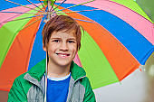 Little boy in rain