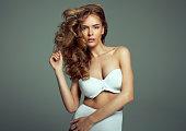 Portrait of blonde beauty in lingerie