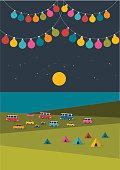 Summer night festival, party music poster, background with color flags