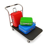 Service Cart with Luggage isolated on white background