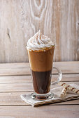iced coffee with milk and ice cream in a glass