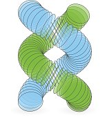 Vector illustration of dna structure in 3d.