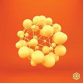 3D Molecule structure background. Graphic design.