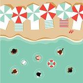 Beach umbrellas and people flat design EPS 10 vector
