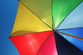 Rainbow umbrella and sky background