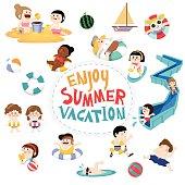 Design element and children for summer season