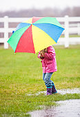 Young Girl in Rain With Umbrella