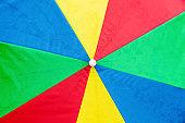 Close-Up Of Rainbow Colored Umbrella