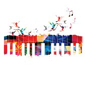 Colorful piano design with hummingbirds