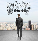Start up concept walking businessman
