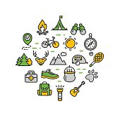 Camping Tourism Hiking Round Design Template Thin Line Icon. Vector